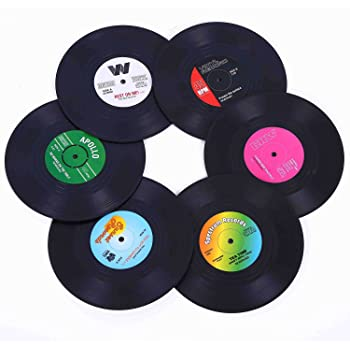 Ankzon Coasters for Drinks with Gift Box - Set of 6 Colorful Retro Vinyl Record Disk Coasters with Funny Labels-Prevent Furniture from Dirty and Scratched-4.2 Inch