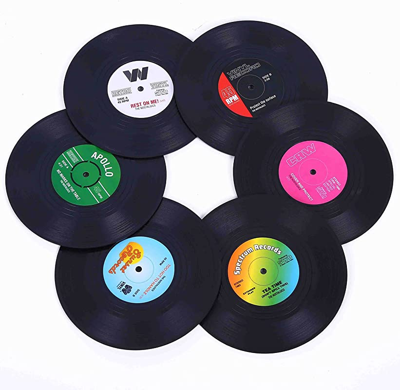Ankzon Coasters For Drinks With Gift Box Set Of 6 Colorful Retro Vinyl Record Disk Coasters With Funny Labels Prevent Furniture From Dirty And Scratched 4 2 Inch