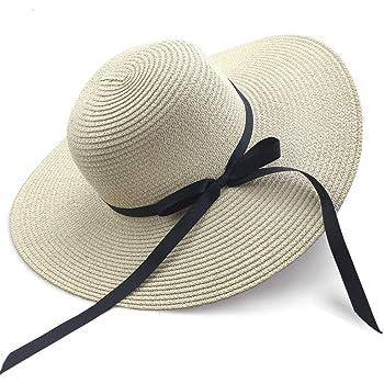 pliable bord large beige protection UV paille n/œud papillon chapeau large Chapeaux de soleil Chapeau d/ét/é pour femmes