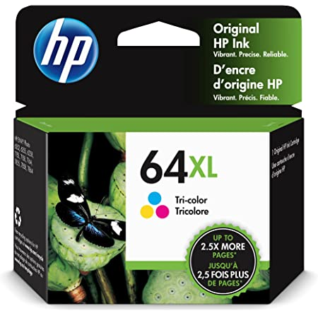 Original HP 64XL Tri-color High-yield Ink Cartridge | Works with HP ENVY Photo 6200, 7100, 7800 Series | Eligible for Instant Ink | N9J91AN