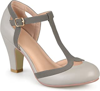 Womens T-Strap Round Toe Mary Jane Pumps