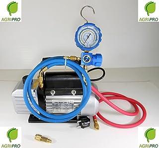Bomba de recarga y de vacío de 70 litros con manómetro incorporado y mangueras para recargar el gas R410A, R407, R22 y R134A