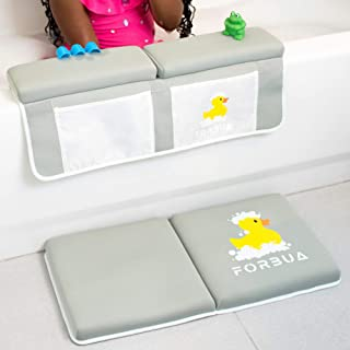 Bath Kneeler and Elbow Rest Set - Soft Baby Bath Kneeling Pad Makes Bathtime More Fun - Relives Pain on Knees & Elbows - Perfect Gift for Baby Shower with Non-Slip Base & 4 Large Organizer Pockets