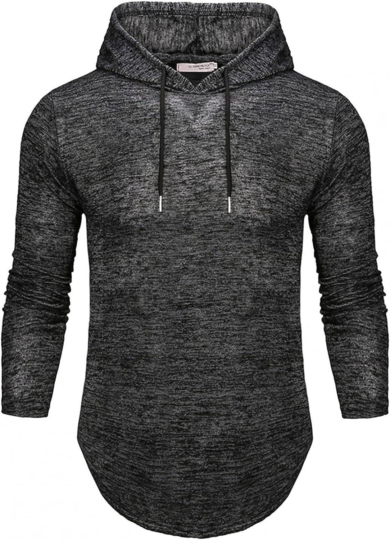 Hoodies for Mens Mens's Mens Solid Color Top Hooded Casual Long-sleeve Drawstring Mens Hoodies & Sweatshirt Blouses