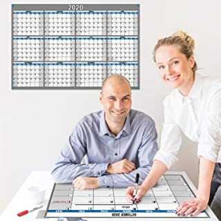 2020 Wall Calendar Dry Erase plus Monthly Planner 4-in-1 Pack 18x27 (Blue), 1 Reversible 2020 Horizontal-Vertical Calendar, 1 Reversible Undated Monthly-Weekly Planner, Laminated Erasable Wall Posters