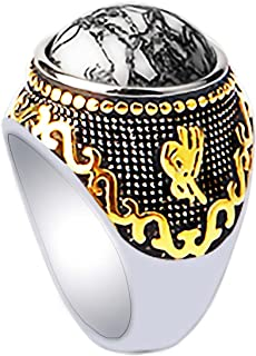 Stainless Steel 18k Real Gold Plated Ring for Men Women Turquoise Gemstone Statement Ring-Thick and Heavy