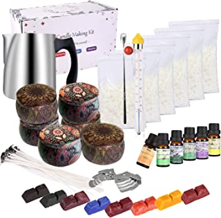 Kit de Fabrication de Bougies de Cire Bricolage,Coffret Cadeau DIY Kit Complet pour Débutants avec Cire de Soja, Pot d'éta...