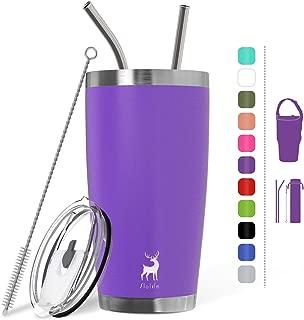 Slo Life 20 oz Stainless Steel Tumbler Double Wall Vacuum Insulated Travel Mug with 2 Straws & Splash Proof Lip & Brush & Bag - Purple