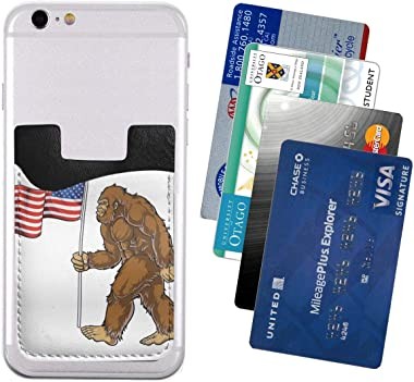 Bigfoot Art Funny American Flag PU Leather Business Id Card Package RFID Credit Card Holder Clip Sleeve Wallet for Vehicle Ca