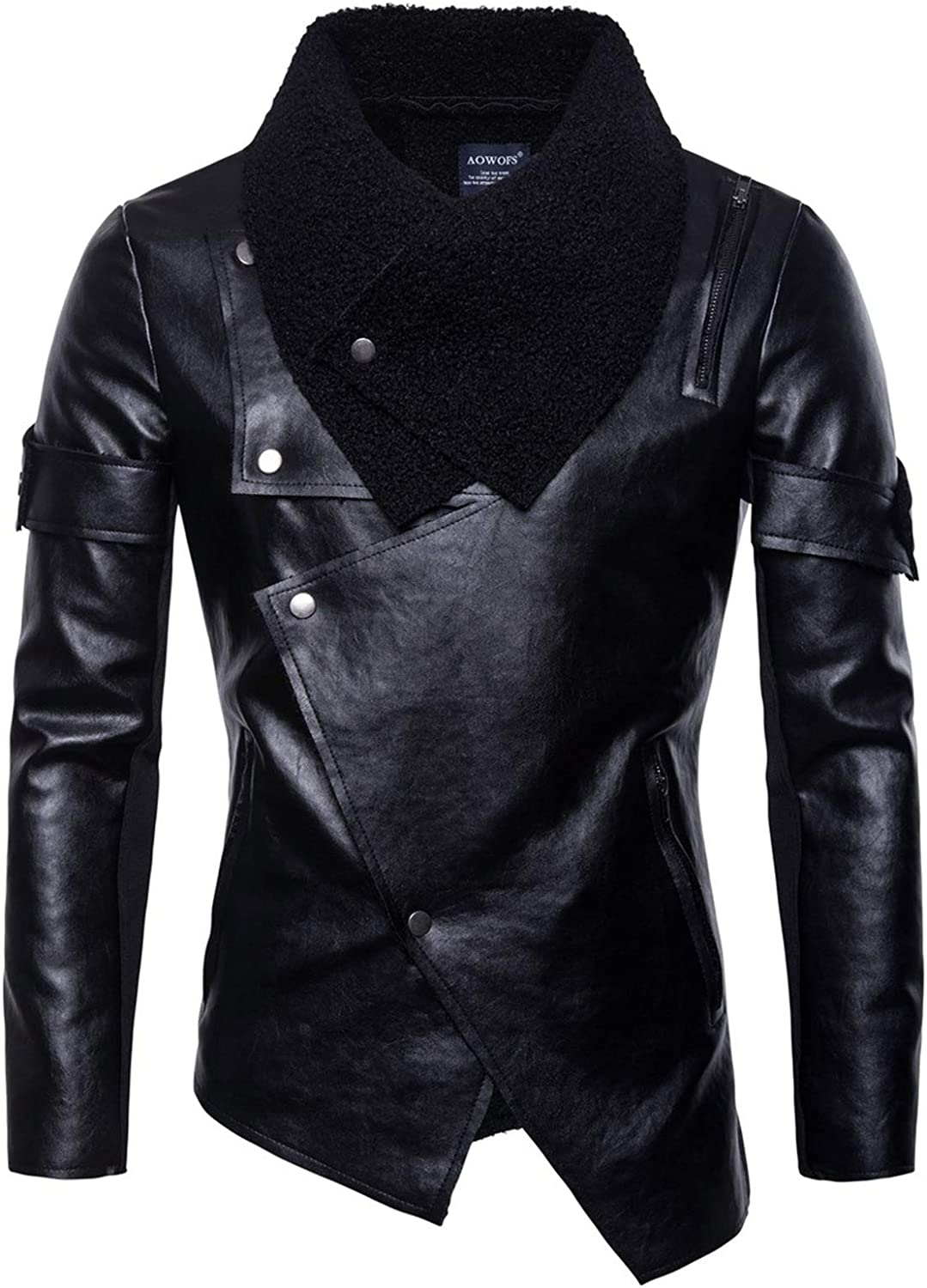 Men's Motorcycle Leather Jackets,Irregular Personality Punk Leather Jacket,for Casual Daily Wear for Teenagers