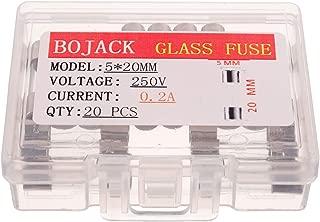 BOJACK 5x20mm 0.2A 0.2amp 250V 0.2x0.78 Inch F0.2AL250V Fast-Blow Glass Fuses(Pack of 20 Pcs)