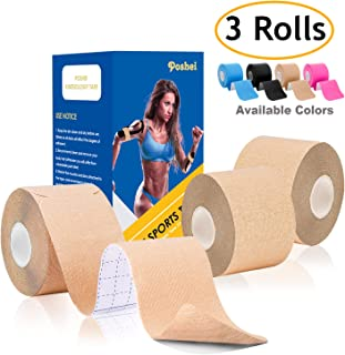"""poshei Kinesiology Tape Precut (3 Rolls Pack), Elastic Therapeutic Sports Tape - Pain Relief Adhesive for Shoulder Knee Elbow Ankle, Waterproof, Breathable, Latex Free, 2"""" x 16.5 feet Per Roll"""