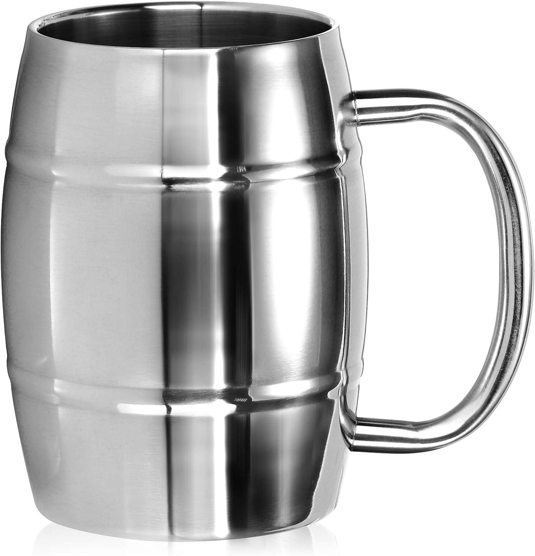 COM-FOUR® Taza de acero inoxidable XL - Jarra de cerveza de acero inoxidable de 400 ml - Taza de acero inoxidable - Taza de camping de doble pared (color plateado - aspecto de barril)