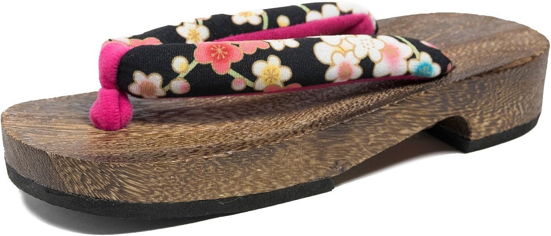 KYOETSU Women's Japanese Wooden Geta Sandals Brown