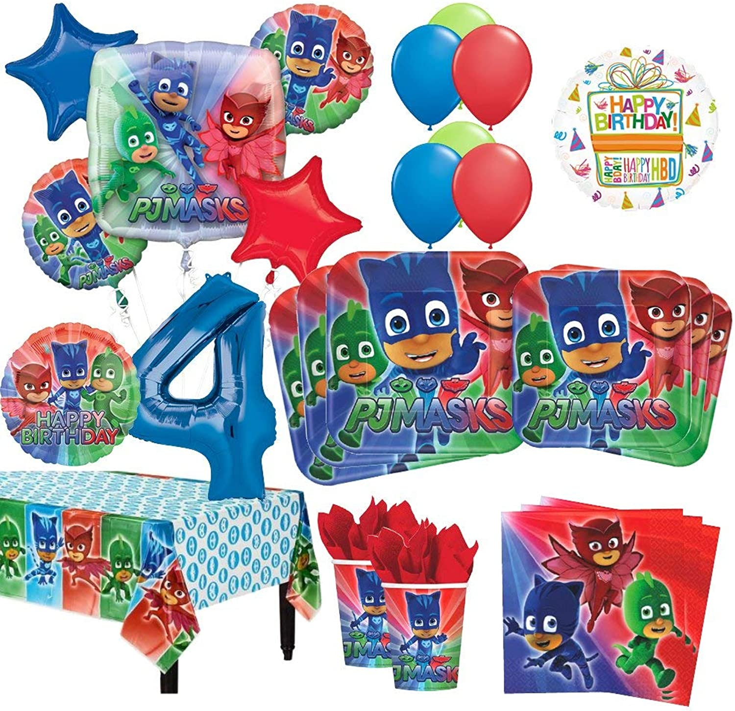 Mayflower Products PJ Masks 4th Birthday Party Supplies 16 Guest Kit and Balloon Bouquet Decorations 96pc