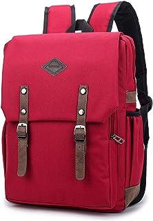 Schulranzen für Mädchen,Jungen,Teenager/HOPYOCK Teens Schule Rucksäcke,Studententasche,Lässiger Tagesrucksack,Wasserabweisend Einfarbig Schule Rucksack mit Bedeckt-Passend für Unisex-Alter 8-18,Rot