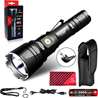 Klarus XT12GT 1600 Lumens Rechargeable LED Tactical Flashlight, Beam Reach 603m, CREE LED Spotlight Flashlight with Magnetic Charging Cable, 18650 Battery, Holster
