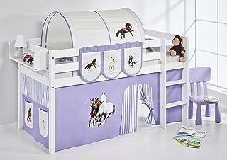 Lilokids Lit Mezzanine JELLE Cheveaux-Lilas -lit d'enfant Blanc - avec Rideau - lit 90x200 cm