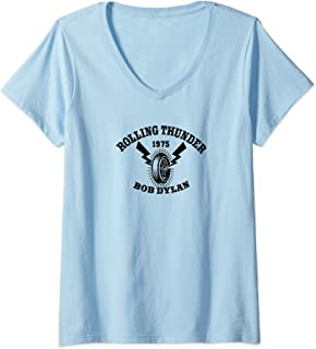 Femme Bob Dylan - Rolling Thunder T-Shirt avec Col en V