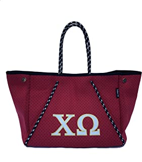 Chi Omega Sorority Fraternity Neoprene Tote Bags Purses Totes Fall School Overnight Gym Studio Office Travel Beach Mountai...