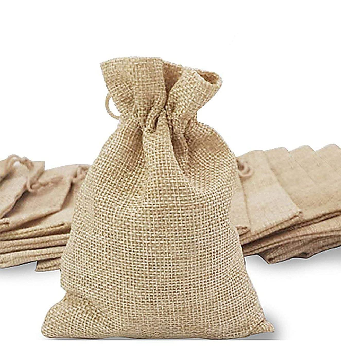 handrong 30Pcs Burlaps Bags with Drawstring, Gift Bag Jute Hessian Packing Storage Linen Burlap Jewelry Pouches Sacks for Wedding Party Shower Birthday Christmas Jewelery DIY Craft, 5.0 x 4.0 Inch