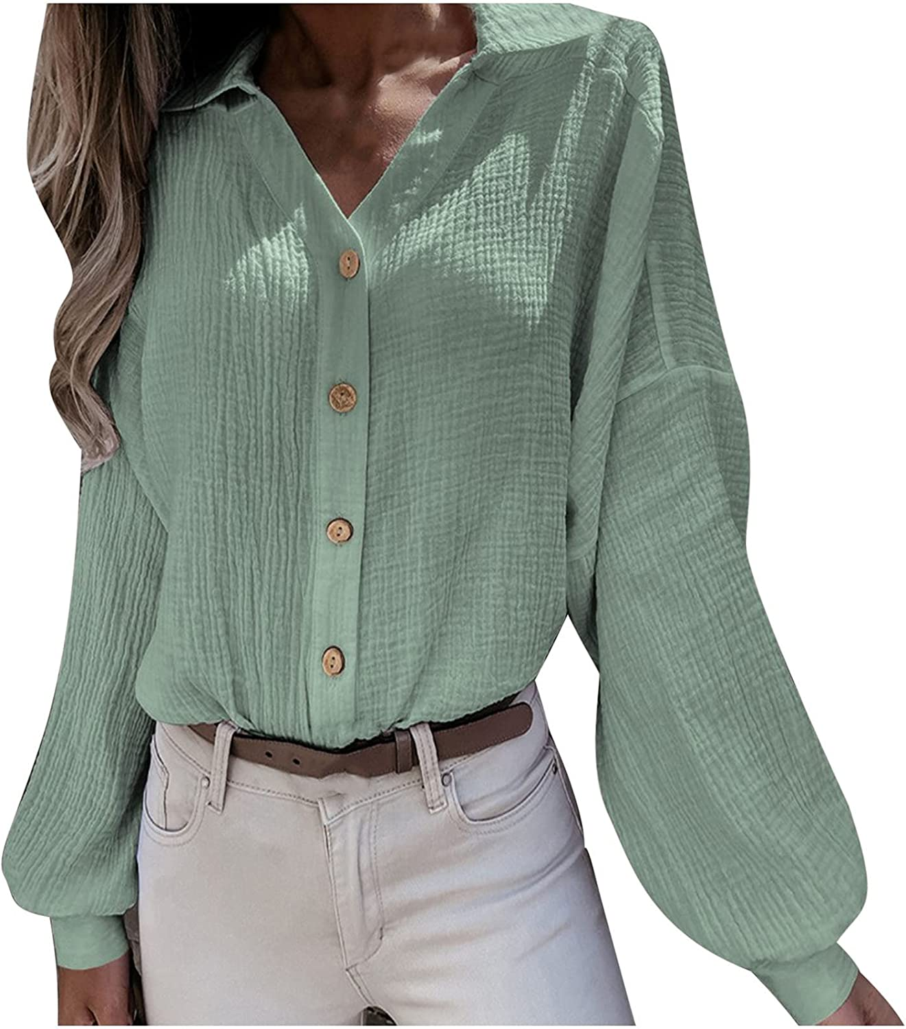 Women Business Casual Store Tops Solid Cardigan V-Neck Down Fas online shopping Button