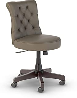 Bush Furniture Key West Mid Back Tufted Office Chair in Washed Gray Leather
