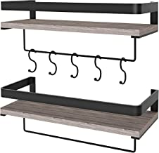 Micbox Floating Shelves Wall Mounted Shelf Rustic Wood Wall Storage Shelves with Towel Bar and 5 Removable Hooks for Bathroom Kitchen Bedroom, Set of 2