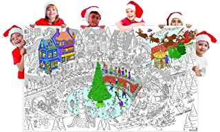 Great2bColorful Really Big Coloring Poster (60''x 36'') Merry Christmas Village