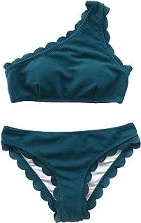 Women's Solid Wavy Edge One-Shoulder Bikini Set Rain of Petals