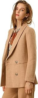 Women's Double Breasted Coats Shawl Collar Chevron Blazer Winter Pea Coat