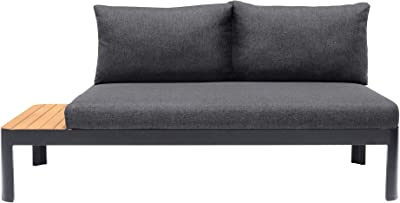 ARMEN LIVING LCPDSODK Portals Outdoor Patio Sofa, Grey Cushions/Black Finish