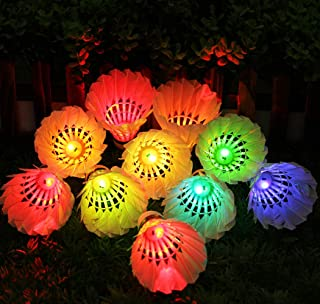 Inngree LED Badminton Birdies, LED Colourful Shuttlecock Dark Night Goose Feather Glow Birdies Lighting Outdoor Indoor Sport Activities (Colourful-10pcs)