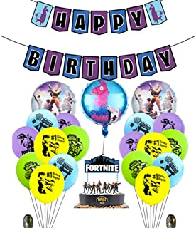 Beauenty 23PCS Fortnite Video Game Happy Birthday Party Supplies Favors Foil Latex Balloons Decorations for Adults Girls a...