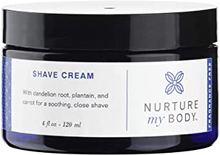 Natural Shave Cream by Nurture My Body   Certified Organic, Fragrance Free   For Sensitive Skin (4 fl oz.)