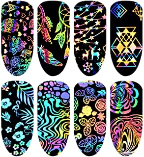 Aysekone 8 Sheets Colorful Laser Transfer Nail Stickers Nail Foils Starry Sky Decals Flower Mix Pattern Stickers Design