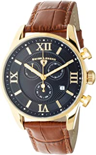 Swiss Legend Men's Belleza Analog Swiss Quartz Watch Black Dial and Gold Stainless Steel Case with Brown Leather Strap 22011-YG-01-BR