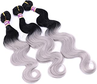 Wavy Hair Bundles Body Wave Hair Weave Synthetic Hair 16 18 20 Inches 3 Pieces/Pack Ombre Color Black and Silver Grey