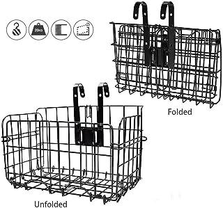 ASEOK Plegable de la Cesta Posterior de la Bicicleta Malla de Alambre Plegable Desmontable Bolsa Delantera Colgante Trasero Cesta de Bolsa de Bicicleta Estante de Carga para Accesorios