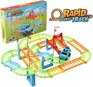 infinitoo 103 Pcs City Race Track Car Toy Set, 3D Flexible Train Tracks Toys Educational Toys, with Race Cars Traffic Sign...