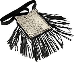 Raviani Loop Keychain In Black Pebble Grain Leather W//crystal Mesh Made In USA