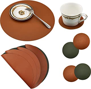8 Pieces Round Leather Placemat and Coasters Set, PU Waterproof Place Mat Heat Resistant Non-Slip Washable Mats for Kitche...