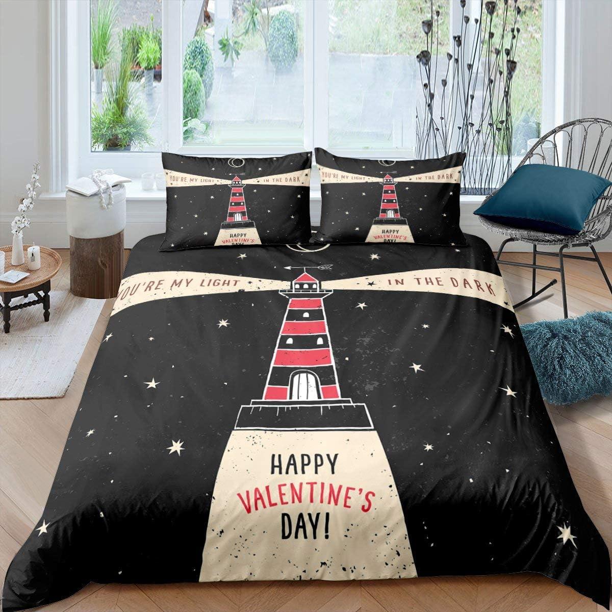 Erosebridal Lighthouse Duvet Gifts Cover Day Valentine's Theme Couples Luxury goods