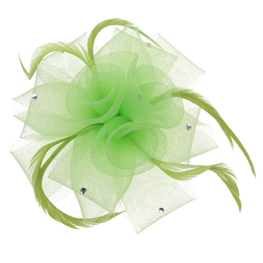 Rose Flower Feather Beak Clip Fascinator Ladies Day Wedding Races Hair Clips Headpiece - Lime Green