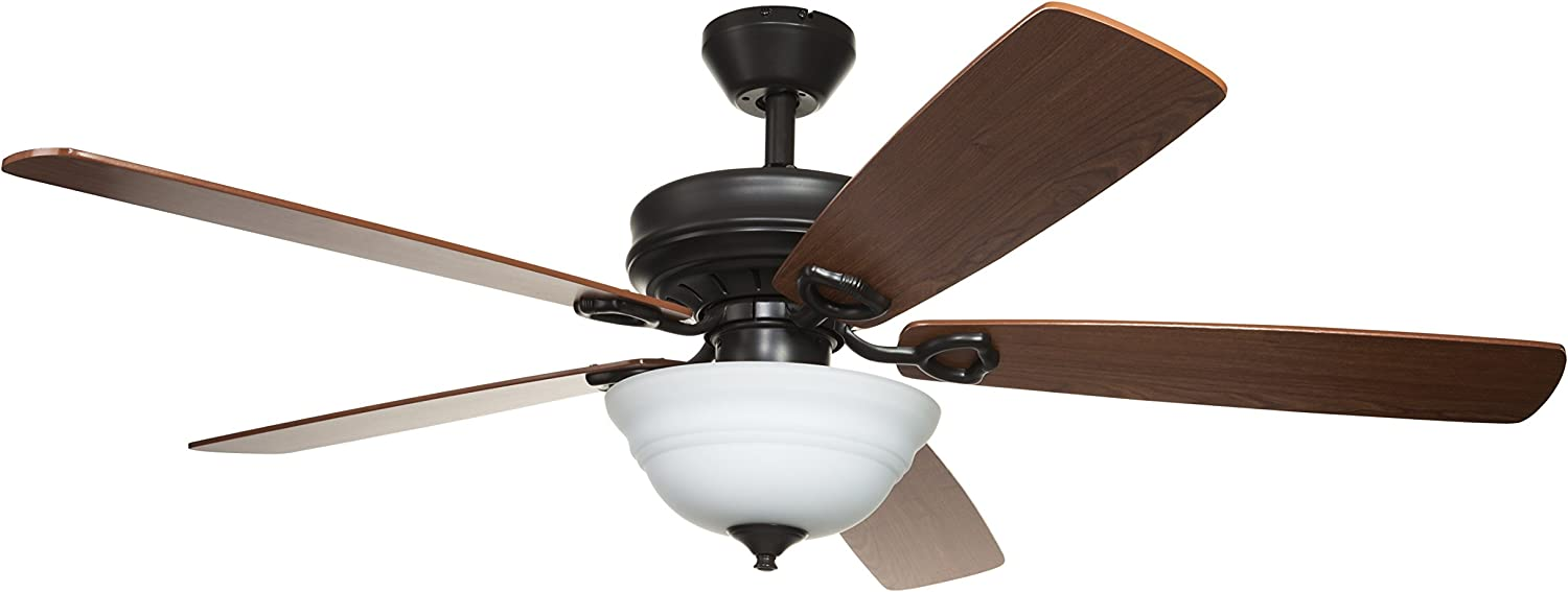 Hyperikon 52 Inch Ceiling Fan with Remote Control, Brown Ceiling Fan Indoor, Five Reversible Blades and Frosted Dome Light - Bulb Not Included