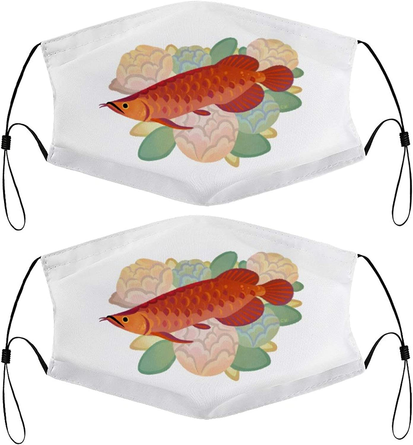 Arowana and Flower Kids Face Masks Set of 2 with 4 Filters Washable Reusable Breathable Black Cloth Bandanas Scarf for Unisex Boys Girls