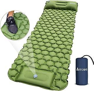 Camping Sleeping Pad, Foot Press Inflatable Camping Mat with Pillow, Durable Comfortable Lightweight Sleeping Air Mattress...