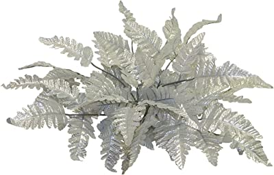 12 Silver Leather Fern Stems Fronds ~ Filler Silk Wedding Decoration Flowers Artificial Arrangement Centerpieces