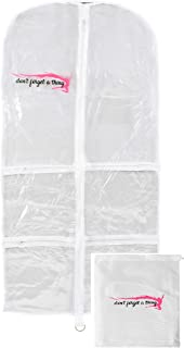 Dance Costume Garment Bag with Pockets, Strong Clear PVC with Bonus Drawstring Shoe Bag