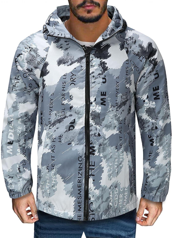 Mens Hooded Windbreaker Jacket Long Sleeve Camouflage Print Hoodie Overcoat Lightweight Breathable Windproof Raincoat